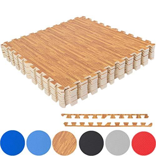 MSPORTS Bodenschutzmatten Set Premium - 8 Schutzmatten 3,175m² | Bodenschutz 60x60 cm | Stärke: 1,2 cm | Puzzlematten Gymnastikmatte (Holzoptik)
