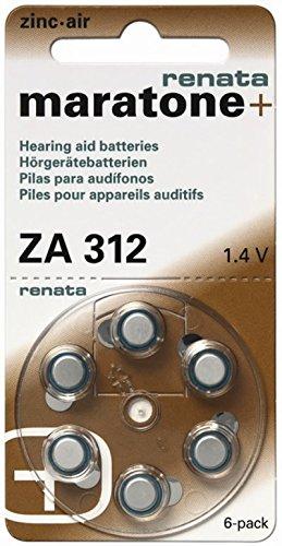 Renata ZA 312 60 piles pour appareils auditifs 180 mAh 1,4 V