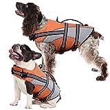 Kuoser High Visibility Dog Life Jacket, Pet Lifesaver Vest Dog Swimsuit for Small Medium Large Dogs, Adjustable Dog Floatation Coat Safety Preserver with Reflective Strips & Rescue Handle