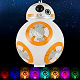 Star Wars BB-8 LED Night Light, Color Changing, Collector's Edition, Dusk-to-Dawn Sensor, Plug-in, Disney, Galaxy, Ideal for Bedroom, Bathroom, Nursery, Hallway, 43429