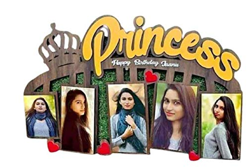 Galaxy Print Creation Princess Happy Birthday Jaanu Photo Frame with Special Wooden Gift - Birthday Gift for Some One - Size (11 * 16)