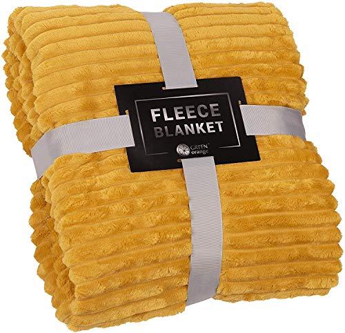 Manta de forro polar verde naranja tamaño king – 108 x 90 cm, ligera, amarillo mostaza, suave, mullida, cálida, acogedora – Manta perfecta para sofá, cama, sofá