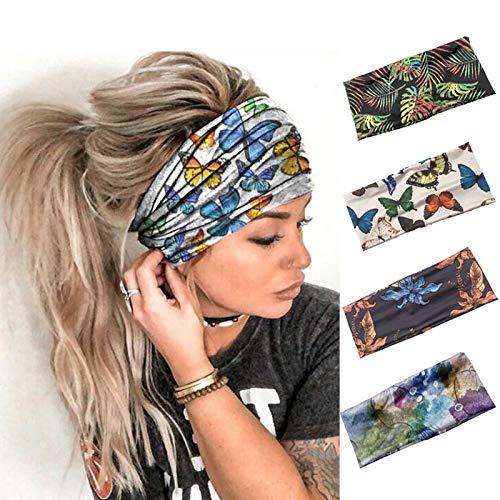 Sethain Boho Amplio Venda Yoga Bandeau Elástico Banda para el cabello Pañuelo de impresión Sombreros elásticos Para mujeres y niñas (paquete de 4)