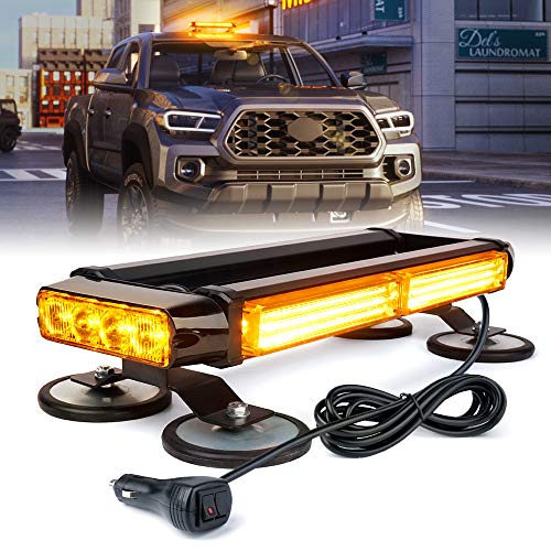 Xprite Amber COB LED Strobe Flashing Light Bar Double Side Emergency Hazard Warning Beacon Lights 21 Flash Modes w/ Magnetic Base for Rooftop Safety Vehicles Tow Trucks Cars Tractor Snowplow
