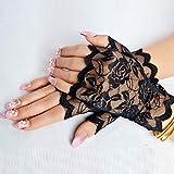 MYSdd Bloße Blumenspitze Fingerlose Handschuhe Frauen Schwarze Rosen-Handschuhe überbackene Ordnungs-Sommer im Freien Sun, der Handschuhe blockiert Neues Ankunfts-Schwarzes