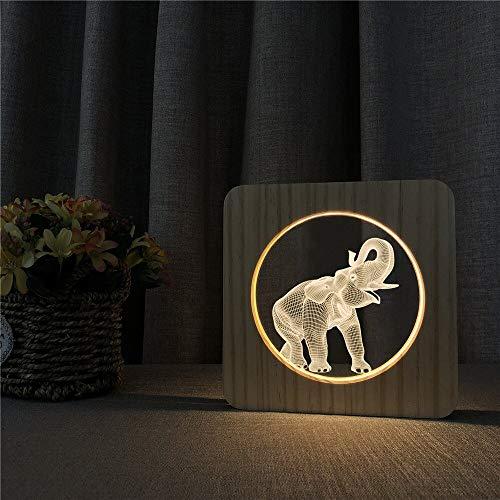 Solo 1 pieza elefante animal 3D LED acrílico madera luz de noche luz de mesa control de interruptor de luz grabado luz decoración de habitación para niños regalo