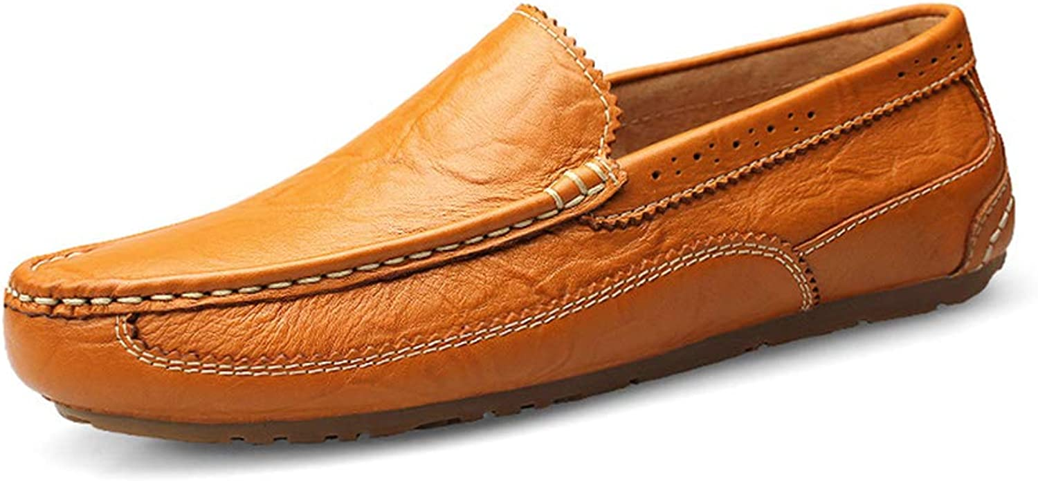 Men's Hollow Flat shoes Bullock Leisure Non-slip Driving shoes Lightweight Breathable Boat shoes Handmade shoes