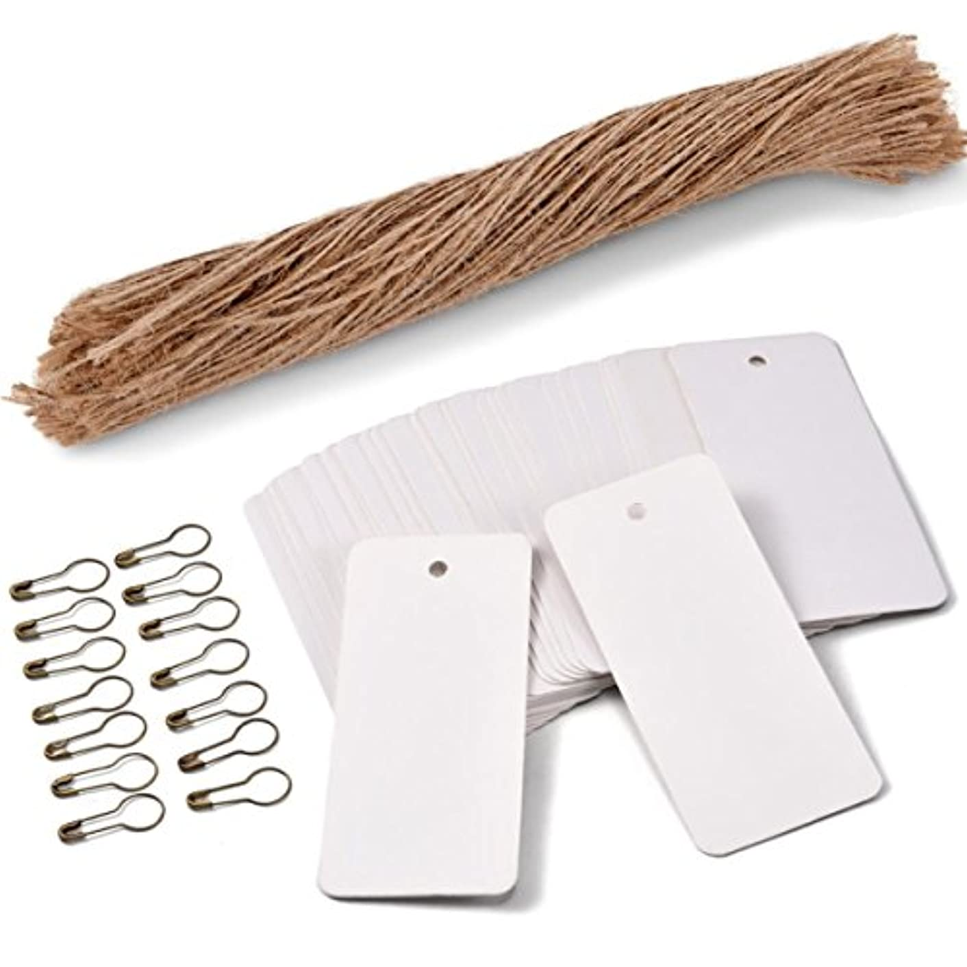 200 PCS Price Tags with Pre Cut Jute String and Safety Pins,LOOMY Printable Blank White Paper Tags for Sales Retail and Display