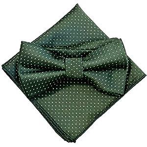 ドット(小) グリーン【蝶ネクタイ&ポケットチーフ】2点セット メンズ ワンタッチ フォーマル カジュアル 緑