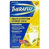 Theraflu Cold & Flu Relief Multi-Symptom Severe Cold With Lipton flavors, Hot Liquid Powder, Green Tea And Honey Lemon Flavors, 6 Packets