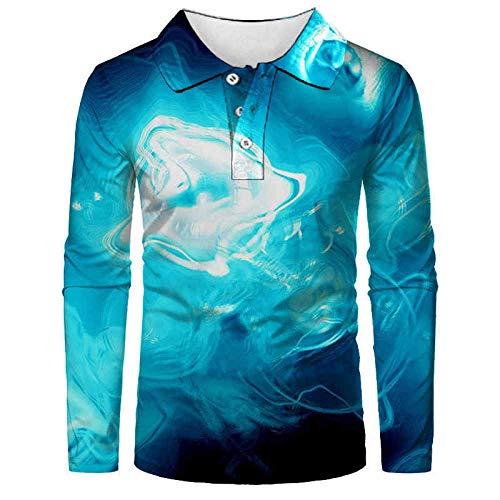 FDJIAJU Langarm Poloshirt,Abstrakte Vulkan Herren Mode Polo Shirt Casual 3D Gedruckt Shirt Langarm Shirt Voller Ärmel Warm Casual Atmungsaktive Casual Anzüge Top Bluse 048,S