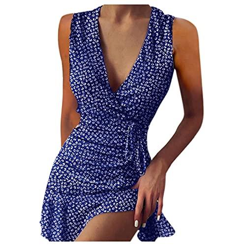 Schwarz/Blau/Rot Damen V-Ausschnitt Rüschen Loose Swing Tunika Kleid Sommer Loose Plissee Polka Dot Minikleid Sommerkleid Kurzarm Knopfleiste...