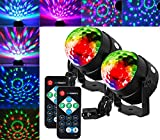 OUYAWEI 2PCS Mini RGB LED 7 Colors Sound Actived Crystal Disco Ball Light Party Lamp Magic Stage Light with Remote Control for Party KTV Club