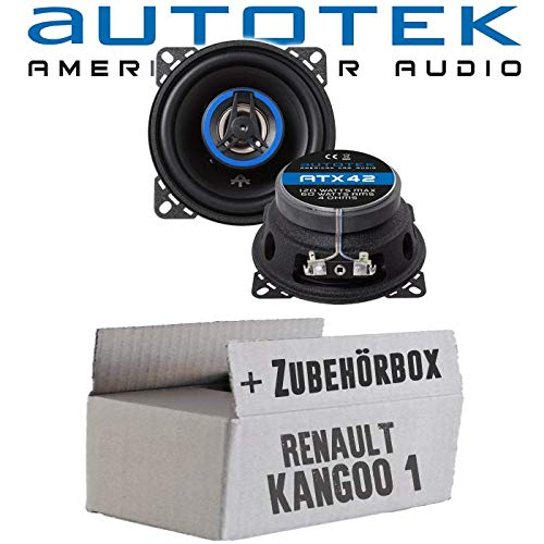 Lautsprecher Boxen Autotek ATX-42   2-Wege 10cm Koax Lautsprecher 100mm Auto Einbauzubehör - Einbauset für Renault Kangoo 1 Front Heck - JUST SOUND best choice for caraudio