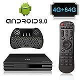 A95X Android 9.0 TV Box con Amlogic S905X2 Quad Core CPU,4GB RAM 64GB ROM 4K 3D 2.4GHz/5.0GHz WiFi Bluetooth 4.0 con Mini Wireless Backlight Keyboard