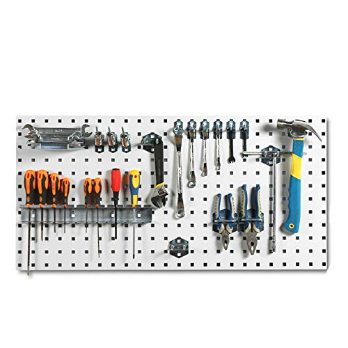 Pegboard Garage Wall Tool Rack Pegboard Wall-Mounted Tool Organiser Includes Assorted Hooks for Home, Shed, Workshop or Garage (Color : A, Size : 90x45cm)