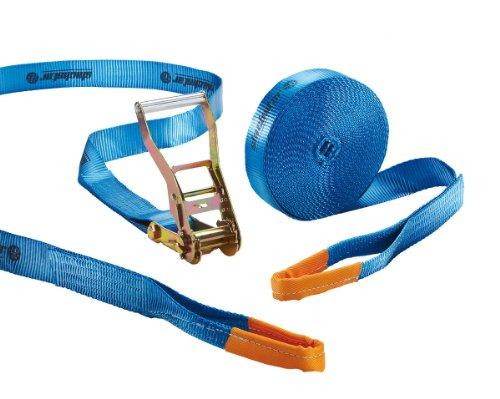 Braun GmbH Slackstar SL81792-15 Slackline Set Basic 2teilig für Kids & Anfänger, blau, 15 m Länge, 50 mm Bandbreite