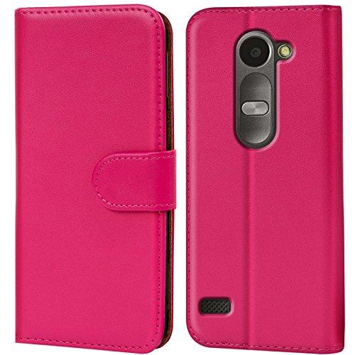 Verco Leon LTE Hülle, Handyhülle für LG Leon Tasche PU Leder Flip Case Brieftasche - Pink