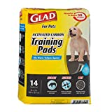 GLAD for Pets Large Activated Carbon Puppies & Senior Dog Training Pads, Count of 14, 14 CT, Black