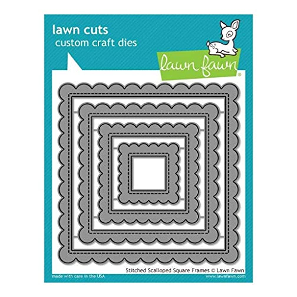 Lawn Fawn Lawn Cuts Custom Craft Die - LF1720 Stitched Scalloped Square Frames