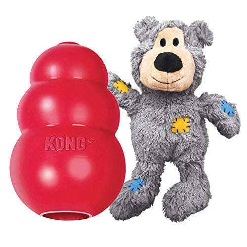 KONG - Classic and Wild Knots Bear - Dog Chew Toy and Stuffed Dog Rope Toy - for Medium Dogs