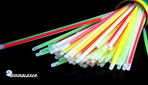 OmniaLaser OL-GLOW100MIX Bracciali Luminosi Glow Stick con connettori 100 Pezzi (Multicolore)