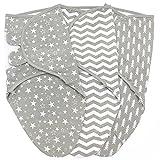 Baby Swaddles 3-6 Months, Large Size Swaddle Sack Blanket Wrap, Adjustable Infant Swaddling Sacks, 3 Pack, Grey