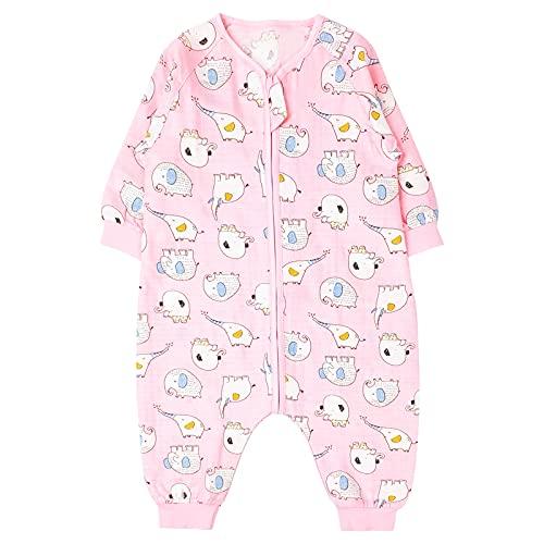 Bebé Saco de Dormir con Pies Verano Pijama Manga Larga Mono Muselina de Algodón Transpirable Mamelucos Niños Niñas Unisex 4-5 años Elefante rosa