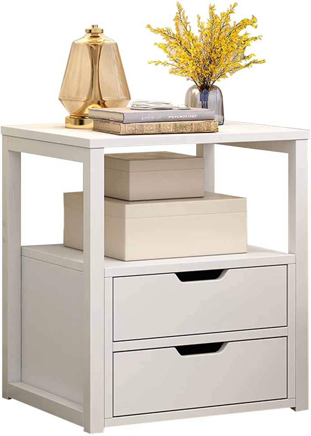 Coffee Table Bedside Table, Invisible Handle, Double Drawer Multi-Functional Storage, Living Room Sofa Side Bedroom Bedside 2 Colours (color   White)