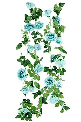FiveSeasonStuff 2 Pcs (Blue) Artificial Silk Rose Garland Vine Plant Flower Leaves (4.4m / 173 inches)