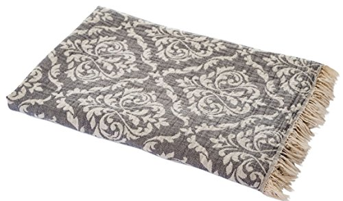 Carenesse Hamamtuch BAROCK grau, Edles und Hochwertiges Doubleface Hamam Tuch, 100% Baumwolle, 90 x 175 cm, Strandtuch, Saunatuch, Schultertuch, Schal, Pareo, Stola