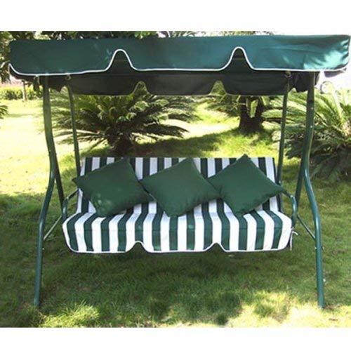 Loywe Hollywoodschaukel Gartenschaukel Schaukelbank 3-Sitzer mit Dach Stahlgestell,Grün 170x115x156cm LW12