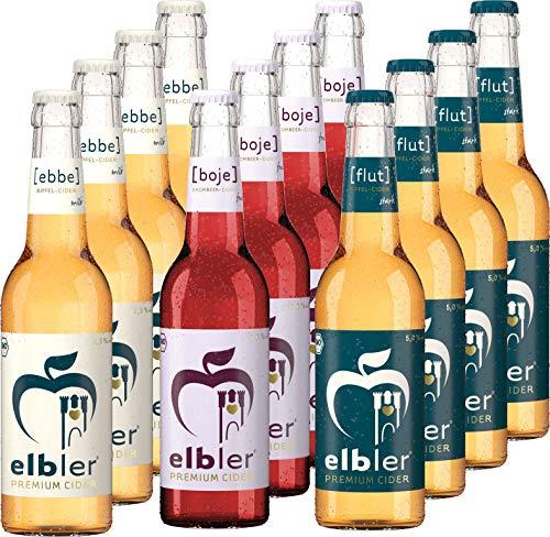 Elbler Cider, Mix 12-er Pack: 4 x Ebbe 2.5% Vol, 4 x Boje 4.0% Vol, 4 x Flut 5.0% Vol, 0,33 l, inkl. 0,96€ Pfand, Äpfel & Brombeeren, Vegan, Handgemachter Cider, 100% Bio-Obst, Kalorienarm