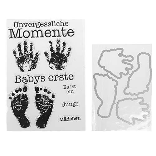 Xurgm Clear Stamps Set (Baby Geburt Hand Foot) - Silikon-Stempel, Transparente Clear-Stamps, Wiederverwendbar
