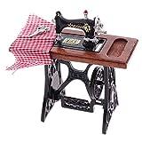 MagiDeal Juego de Muebles de Madera para Máquina de Coser en Miniatura de Casa de Muñecas 1/12 (Color Madera) - Grande