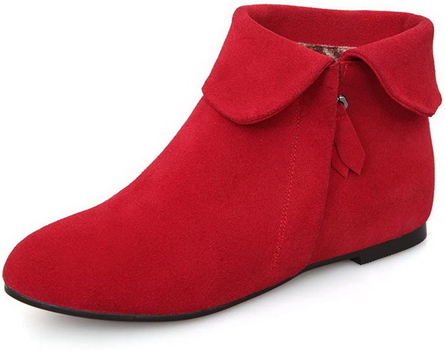 AmoonyFashion Women's Round-Toe Closed-Toe Low-Heels Boot with In Elevator shoes and Slipping Sole