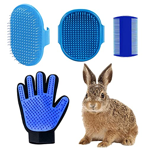 Soplus 4 Pieces Rabbit Grooming Kit, Rabbit Grooming Brush, Pet Shampoo Bath Brush with Adjustable Ring Handle, Double-Sided Pet Comb and Pet Grooming Glove for Rabbit, Hamster, Bunny and Guinea Pig