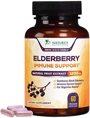 Elderberry Capsules Extra Strength 1200mg - Immune Support Black Sambucus Nigra Extract Pills - Made in USA - Best Vegan Adults Antioxidant Powder Supplement - 60 Capsules