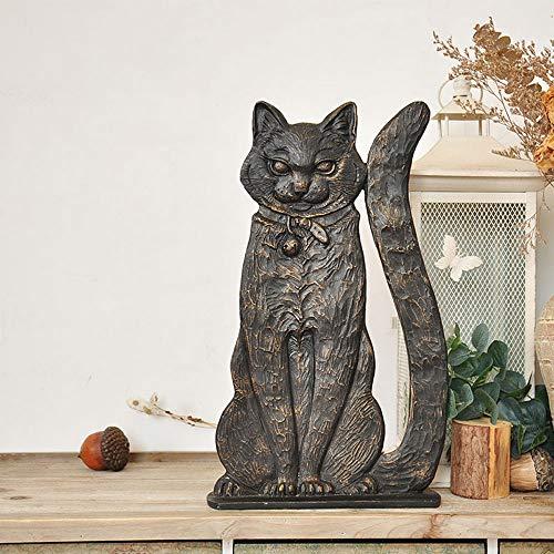 Figura Decorativa para jardín Retro De Halloween Gato Negro Impermeable De óxido De Magnesio Estatua Del Jardín Para Césped De La Yarda Regalo De La Decoración -22.5 * H38.5cm A