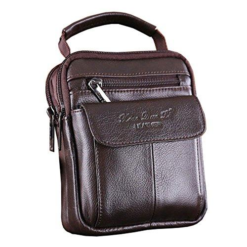 Hebetag - Bandolera de cuero para hombre, bolso de negocios, cartera para teléfono