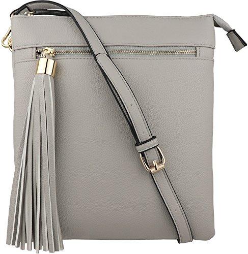 B BRENTANO Vegan Double-Zip Pocket Crossbody Handbag Purse wih Big Tassel Accent (Gray)