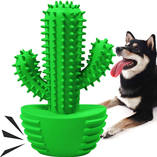Dog Chew Toys for Medium Large Dogs, Interactive Durable Dog Toothbrush Stick Dog Teeth Cleaning Toys Squeaky Dog Toys with 100% Natural Rubber
