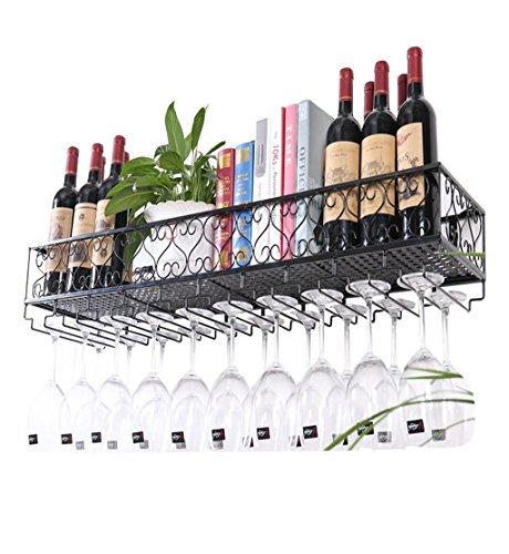 Botellero de metal de pared | Soporte para copa de vino colgante | Porta botella de vino vintage | Vinoteca rústica de pared | Soporte de almacenamiento para estante de pared (negro)