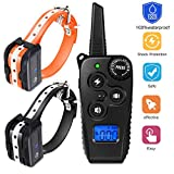 VINSIC Dog Training Collar 2 Pack, Dog Shock Collar with Remote - Beep, Vibration & Shock Modes, 100 Levels Adjustable, 1640 Feet Control Range, Waterproof & Rechargeable