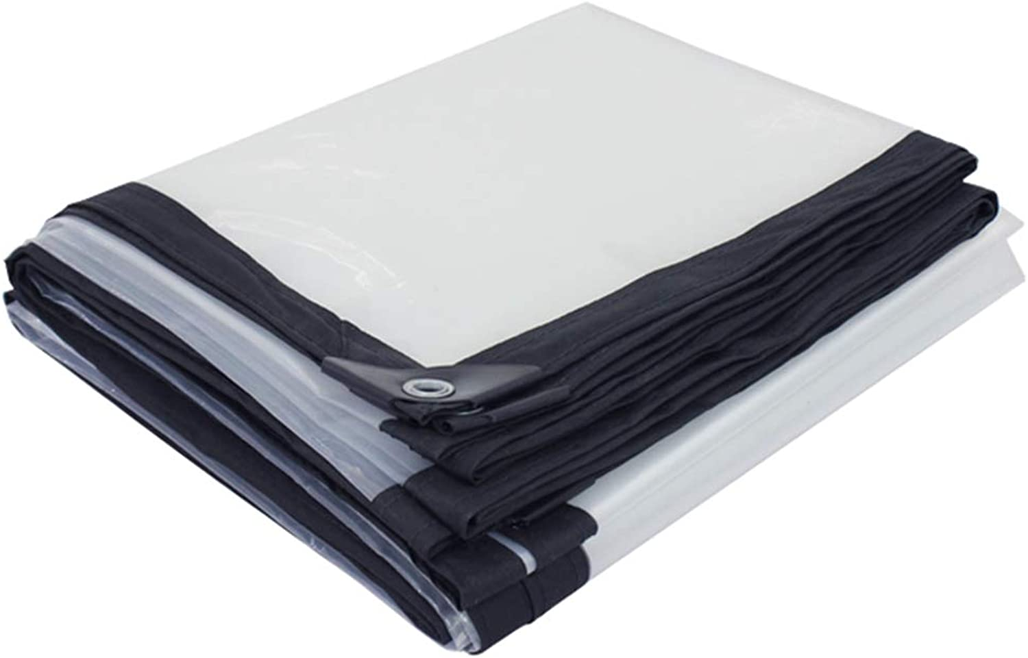 Glass Clear Tarpaulin Ground Sheet Cover Heavy Duty Balcony Plant Awning Rainproof Tarp Outdoor PE Plastic with Grommets and Reinforced Edges