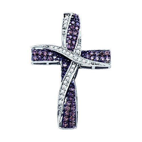 Brandy Diamond Chocolate Brown 10k White Gold Ribbon Cross Necklace Pendant 1/2 Ctw.