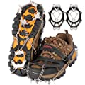 Drogeai ice Cleats ?Black-M? Snow Grips with 19 Spikes for Walking Anti Slip Walk Traction Cleats, Snow Ice Grippers Spikes and Grips,Hiking Climbing Fishing Mountaineering Walking
