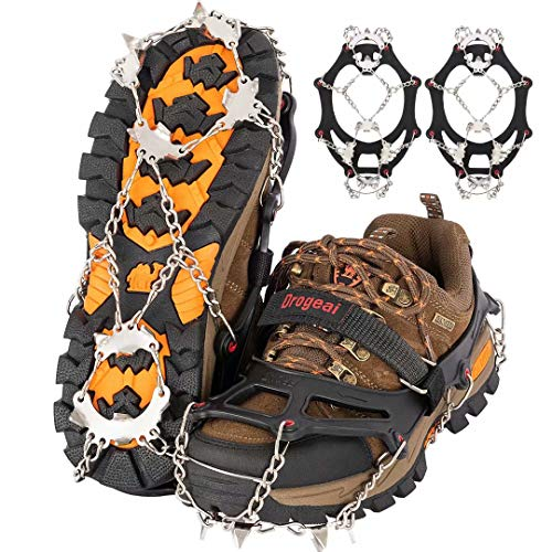 Drogeai ice Cleats (BlackM) Snow Grips with 19 Spikes for Walking Anti Slip Walk Traction Cleats Snow Ice Grippers Spikes and GripsHiking Climbing Fishing Mountaineering Walking