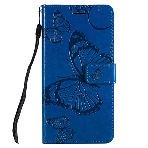 DENDICO Cover Huawei P20 Lite, Pelle Portafoglio Custodia per Huawei P20 Lite Custodia a Libro con Funzione di appoggio e Porta Carte di cRossoito - Blu