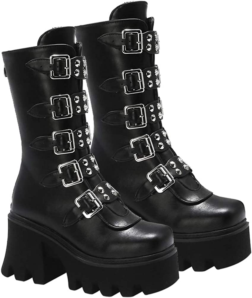 Generic Women Punk Buckle Boot Gothic Mid- calf Motorcycle Boot Chunky Low Heel Buckle Boots Rock Wedge Platform Boots PU Leather Mid- Calf Boot (41)